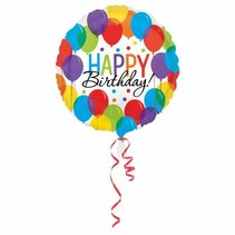 Helium Ballon Happy Birthday Ballon Rond 43cm leeg