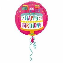 Helium Ballon Happy Birthday Taart 43cm leeg
