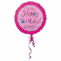 Helium Ballon Happy Birthday Roze 43cm leeg