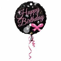 Helium Ballon Happy Birthday Zwart & Roze 43cm leeg