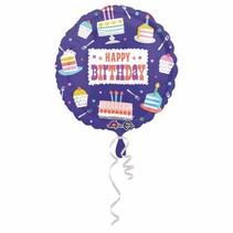 Helium Ballon Happy Birthday Cake 43cm leeg