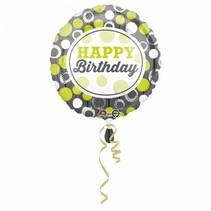 Helium Ballon Happy Birthday Groen & Zilver 43cm leeg
