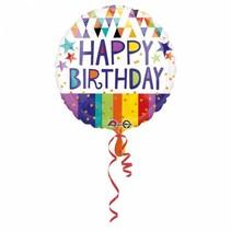 Helium Ballon Happy Birthday Driekhoek 43cm leeg