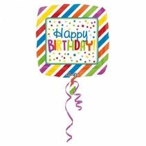 Helium Ballon Happy Birthday Sterren Vierkant 43cm leeg