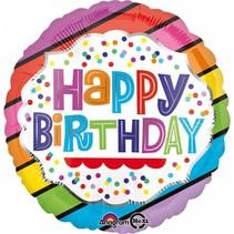 Helium Ballon Happy Birthday Regenboog Stip 43cm leeg