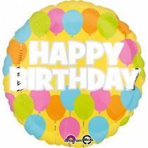 Helium Ballon Happy Birthday Pastel 43cm leeg
