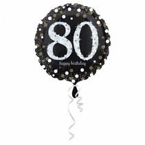 Helium Ballon 80 Jaar Zilver 43cm leeg