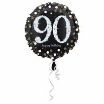 Helium Ballon 90 Jaar Zilver 43cm leeg