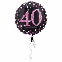 Helium Ballon 40 Jaar Roze 43cm leeg