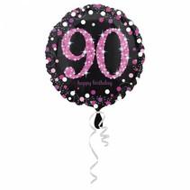 Helium Ballon 90 Jaar Roze 43cm leeg