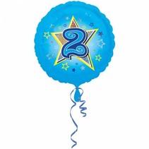 Helium Ballon 2 Jaar Blauw 43cm leeg