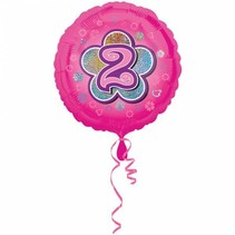 Helium Ballon 2 Jaar Roze 43cm leeg