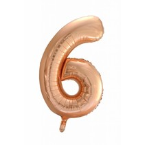 Folie Ballon Cijfer 6 Rosé Goud XL 86cm leeg