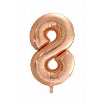 Folie Ballon Cijfer 8 Rosé Goud XL 86cm leeg