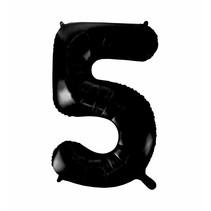Folie Ballon Cijfer 5 Zwart XL 86cm leeg