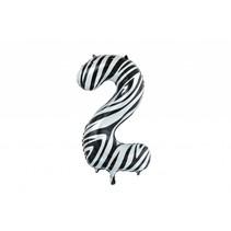 Folie Ballon Cijfer 2 Zebra XL 86cm leeg