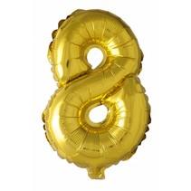 Folie Ballon Cijfer 8 Goud 41cm met rietje