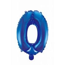 Folie Ballon Cijfer 0 Blauw 41cm met rietje