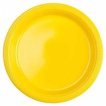 Gele Gebaksbordjes Plastic 18cm 8 stuks