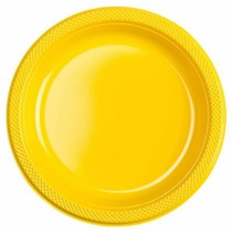 Gele Borden Plastic 23cm 10 stuks