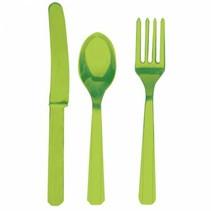 Lime Groen Bestek Plastic 24 delig