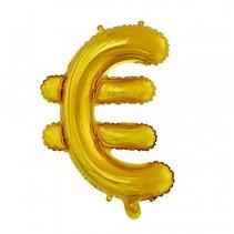 Folie Ballon Euroteken € Goud 41cm met rietje