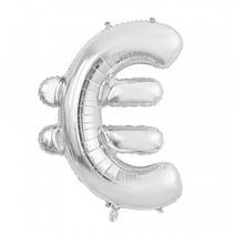Folie Ballon Euroteken € Zilver XL 86cm leeg