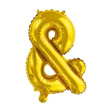 Folie Ballon En-Teken & Goud 41cm met rietje
