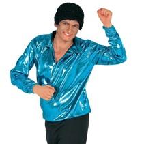 Disco Shirt Glitter Blauw 70's