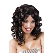 Pruik Half Lang Haar Krul Zwart