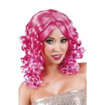 Pruik Half Lang Haar Krul Roze