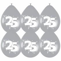 Ballonnen 25 Zilver Party 30cm 6 stuks