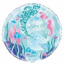 Zeemeermin Helium Ballon Happy Birthday 43cm leeg