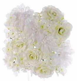 Mixed Flower Mat, rose (5x), dahlia (4x), hydrangea (mat base 25 x 25cm)