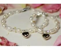 Armband 'Infinity White' met hartjes