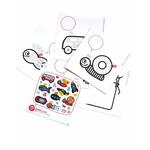 pegatinas + 5 postales para colorear