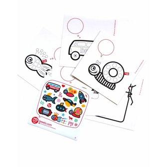 Set 5 ansichtkaarten en stickers