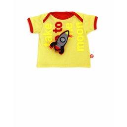 Fel geel baby T-shirt Take me to the moon met stoere raket