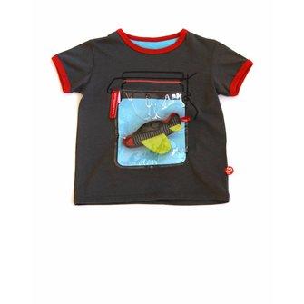 Grijs wek-pot T-shirt met vliegtuigje