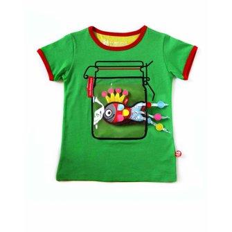 Camiseta verde con frasco con juguete