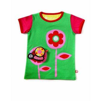 Apple green Flower T-shirt with cute Snail