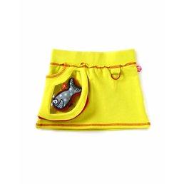 Falda acido amarillo muy trendy con bolsillo transparente y Tiburón