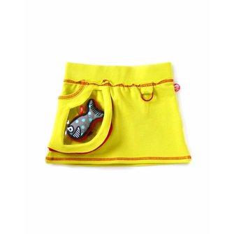 bright yellow miniskirt + Shark