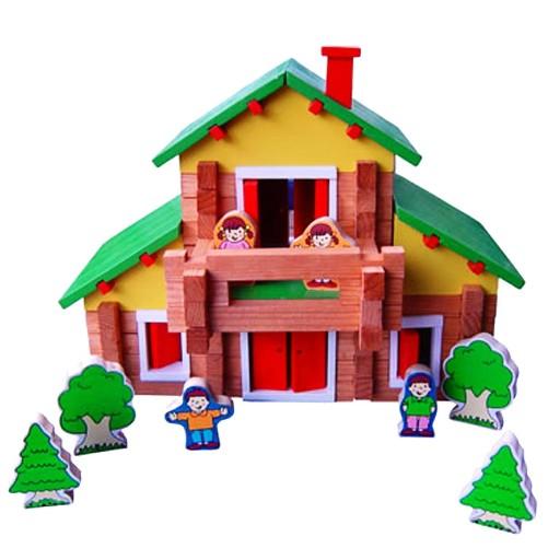 Charl's Design Toys Houten poppenhuis blokhut