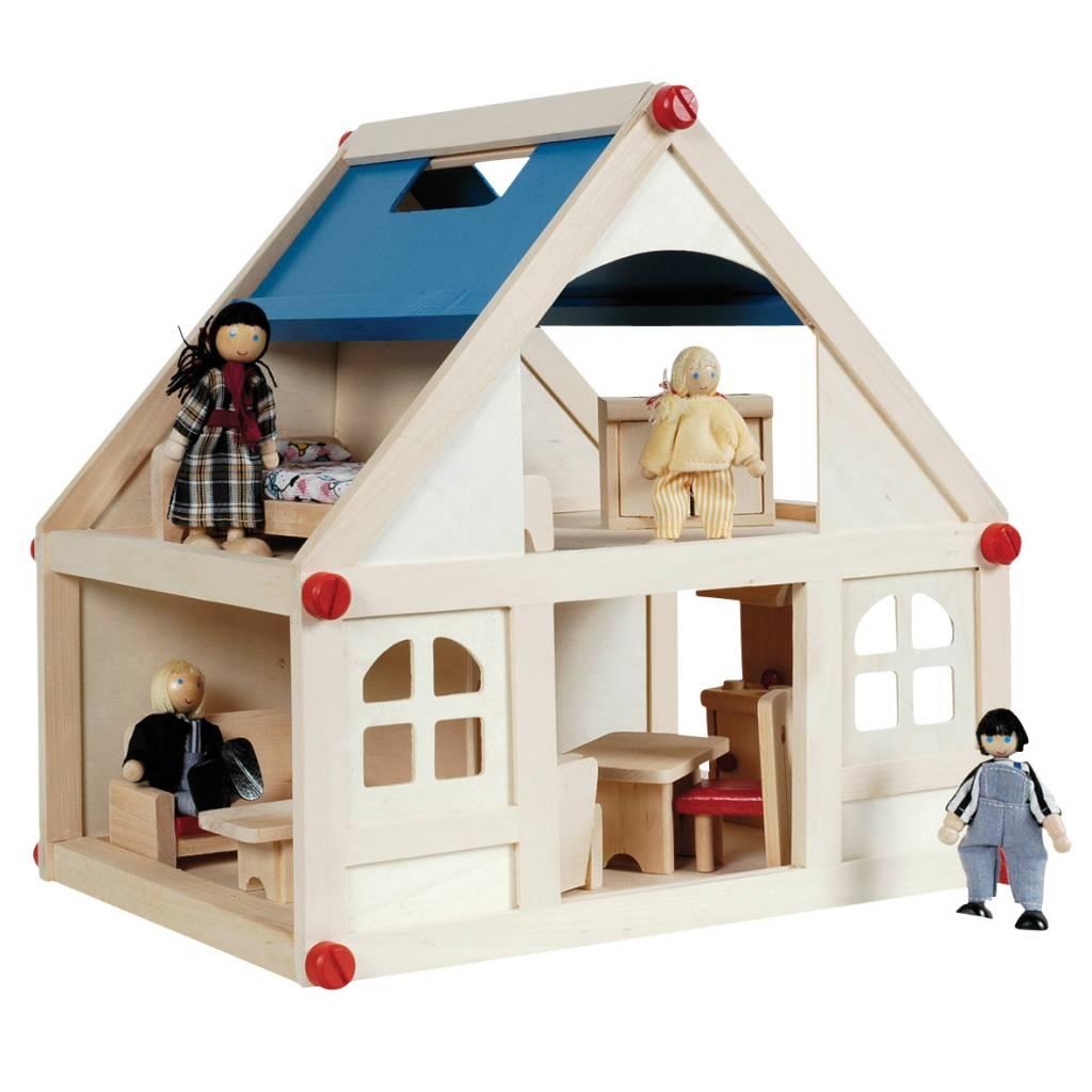 Houten poppenhuis compleet eenvoudig bestellen for Meubels poppenhuis