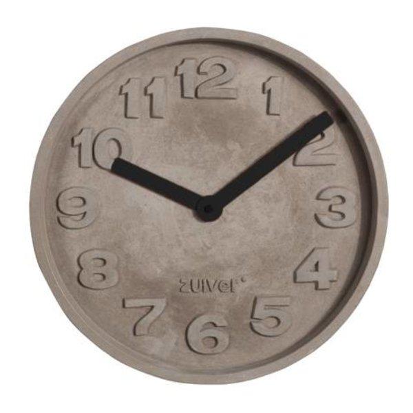 Zuiver Clock concrete time black