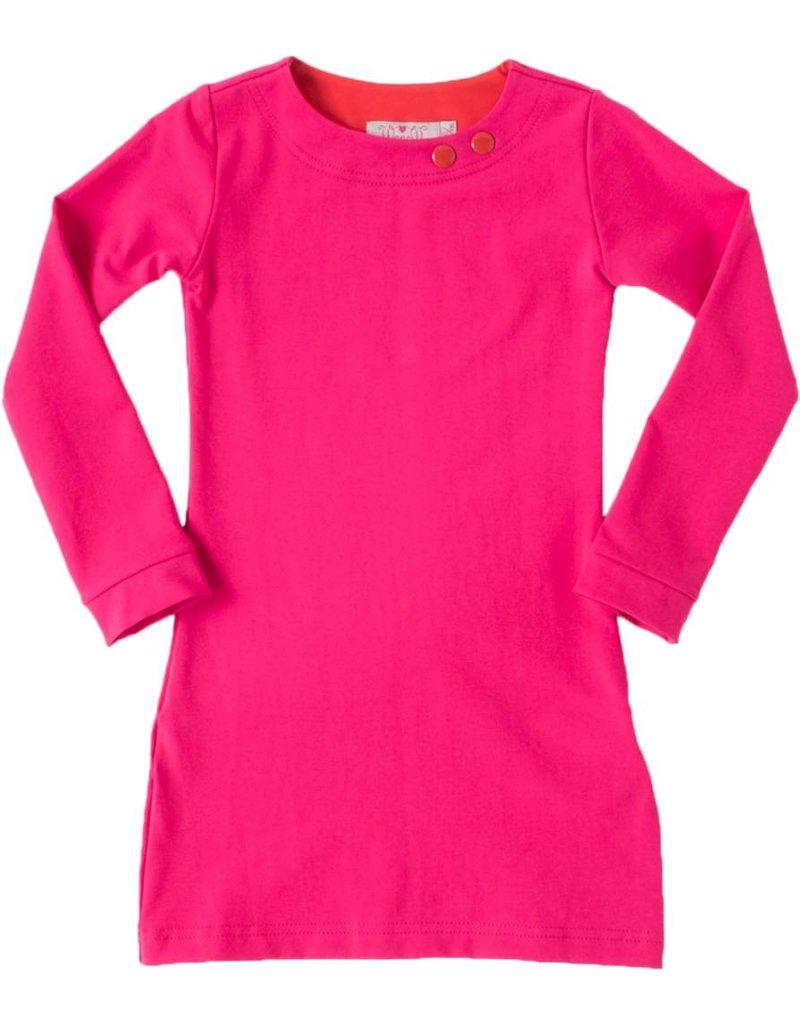 Basis jurk met lange mouwen in de kleur Fuchsia