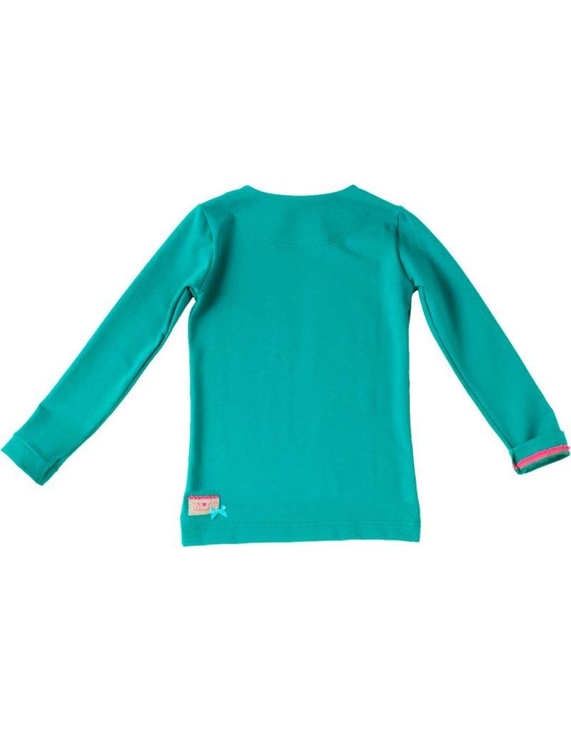Shirt 'Basic' met lange mouwen in de kleur Petrol