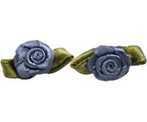 Drukkerapplicatie roosjes (per paar) grijs