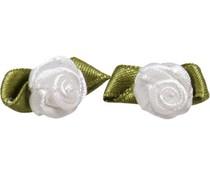 Drukkerapplicatie roosjes (per paar) wit